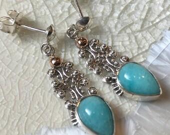 Amazonite earrings, Sterling Silver dangle earrings, teardrop shaped earrings, filigree earrings, long amazonite stone earrings EG693AMZ