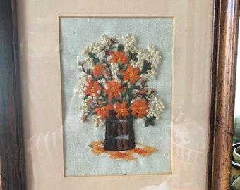 Crewel Embroidered Framed Flower Bouquet.