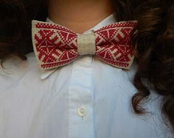bowtie embroidere accesories handmade tie red bowtie Embroidery bowtie Wedding bowtie Boyfriend bowti Unique bowtie Style Creative