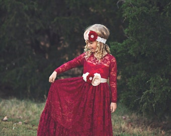 lace flower girl dress, burgundy, girl lace dresses, wine red dress, long sleeve, toddler, country, rustic, red, baby girl dress, cranberry