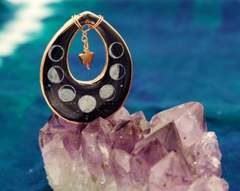 Moon phases pendant, celestial moon necklace, luna love jewelry, hand painted resin, moon charm necklace, witchy jewelry, full moon necklace