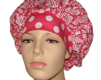 Bouffant Scrub Hat-Hollywood Damask Raspberry Pink-Scrub Hats For Women-ScrubHeads-Damask Scrub Hat-Scrub Cap-Surgical Scrub Hat-Anesthesia