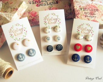 Fabric Button Earrings,Fabric Button Studs, Post Earrings, Flamingo Studs,Anchor Earrings, Summer Wedding,Bridesmaid studs, Teacher Gift