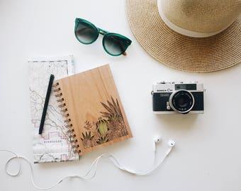 Desert Garden Botanical Wood Journal [Wood Notebook / Unique Laser Cut / Journals for Her or Him]