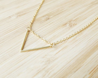 """Triangle Gold Plated Necklace - Gold Plated Necklace 45cm (17.5"""")  - Geometric Jewelry - Dainty Necklace - Delicate Necklace"""