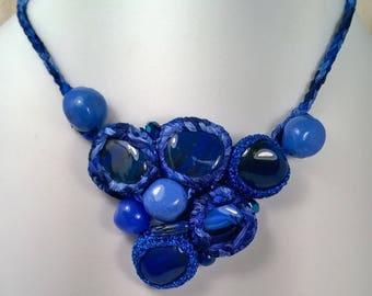 """Odette"" single piece handmade crochet and stone necklace"