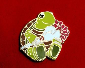 Turtle Pin Hard Enamel - Holding Flowers Roses for Valentine