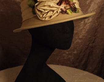 Silk Rose Profile Hat with Velvet Hydrangea Bouquet and Silk Roses