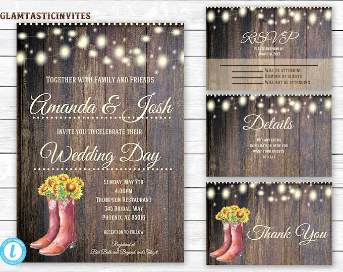Rustic Wedding Invitation Template, Country Wedding Invitation, Wedding invitation suite, Instant Download, Rustic, Boot, Wedding Template