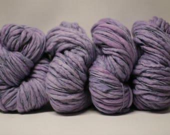 Yarn Merino Organic Thick and Thin Bulky Hand Spun Wool Slub  Hand Dyed tts(tm) Old Lavender 000x