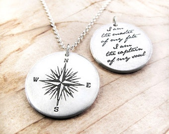 Compass Necklace in sterling silver with Invictus quote, I am the master of my fate, for women and men, graduation gift, retirement gift