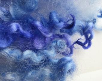 Hand Dyed Curly Wool Locks - Sheep Locks - Australia Border Leicester - Blue and Purple- 1/2 oz