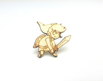 Legend of Zelda Toon Link Pin | Laser Cut Jewelry | Wood Accessories | Wood Pin | Handmade Pin |