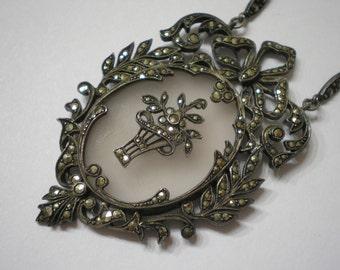 Vintage Sterling Silver Frosted Rock Quartz Marcasite Flower Basket Necklace 19 Inches
