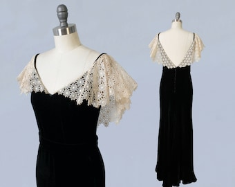 1930s Dress / 30s Liquid Silk Velvet Black Evening Gown / Lace Portrait Collar / LOW V BACK!