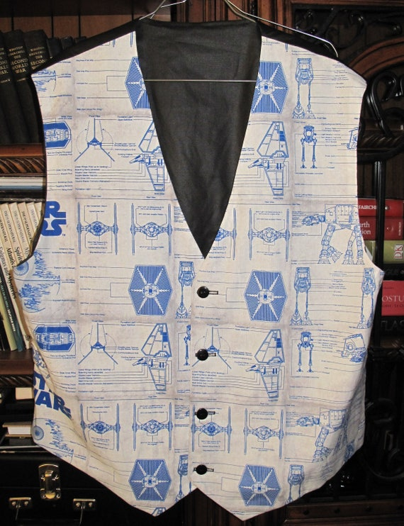 Space Ships Blue print men's sporty vests with buttons for closure in 8 sizes