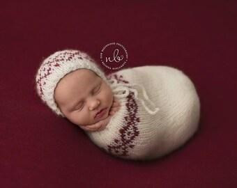 Newborn Swaddle Sack, Photo Prop, Cream & Red, Christmas Prop
