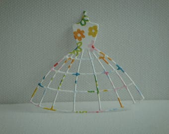 Cutout dress petticoat paper flowers for scrapbooking and card