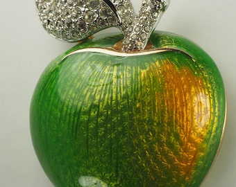 Amazing Swarovski crystals and enamel green apple pin brooch