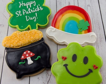 St. Patrick's Day Cookies, Shamrock Cookies, Rainbow Cookies, St Patty's Day - 24 Decorated Sugar Cookies