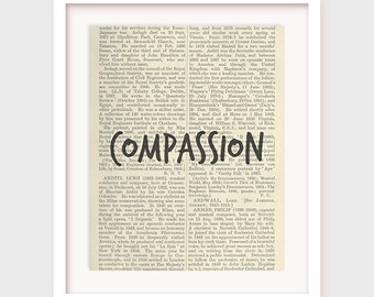 "Dictionary Print, ""Compassion"", Printable Virtue Quote on Dictionary Paper, Instant Download"