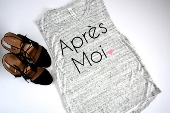 Apres Moi - French Sayings Tank: White Marble