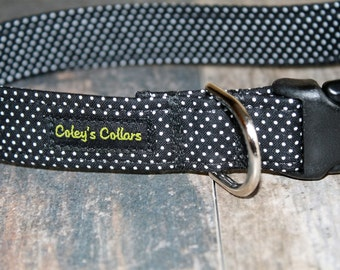 """Dog Collar, Dog Collars, Polka Dot Dog Collar, Boy Dog Collar, Girl Dog Collar, Modern Dog Collar, Trendy Dog Collar, """"The Pin Dot in Black"""""""