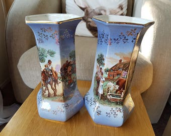 A Pair of Antique Staffordshire Pottery Vases.