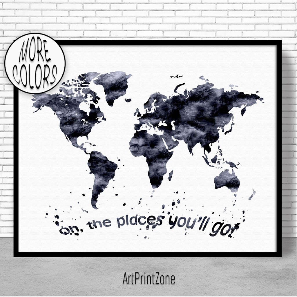 Oh the places youll go nursery world map print world map wall oh the places youll go nursery world map print world map wall art world print world map poster travel art prints artprintzone gumiabroncs Images