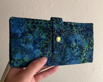 Pretty Blue and Green Batik Print - Long Wallet Clutch - Card Slots, Zipper, Cash
