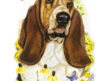 Basset Hound Print on Fabric Panel Quilt Pillow Tote 15010
