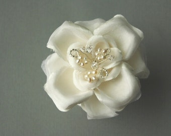 Silk Flower Hairpin, Bridal Hairpin, Wedding Hair Accessory - ELLA