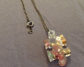 Multicolored Puzzle Piece charm