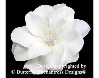 Bridal Hair Accessories, Wedding Hair Accessory, Bridal Hair Flower Clip - Pale Ivory Gardenia Flower Hair Clip - Clear Rhinestone