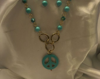 Peace sign turquoise necklace and earrings