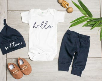 Summer Baby Boy Coming Home Outfit. Newborn Hello Bodysuit. Navy Custom Personalized Knot Hat Beanie. Take Home Outfit