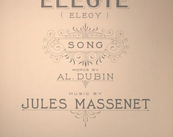 "1924 Sheet Music, ""Elegy"" (Elegie)"