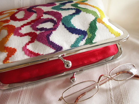 Handmade, hand embroidered evening clutch handbag. Rainbow colors. GALA by Lella Rae on Etsy