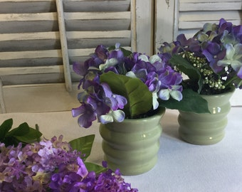Two (2) Sage colored flower Arrangements Matching Bedside/Table /Easter/Wedding/Party