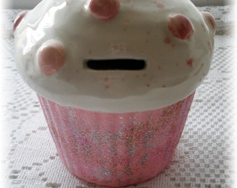 Cupcake Bank Ceramic with Rose Nursery Decor Cupcake Home Decor