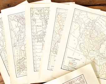 Bundle of Antique Maps and Illustrations Vintage Ephemera Paper Crafting Supply Framing Wall Art 32 Pieces