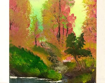 original acrylic painting, landscape painting, pond and trees in autumn, 12x16 painting, acrylics on canvas