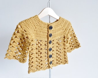 Baby cardigan for age 6 - 12 months handmade with soft British wool in mustard