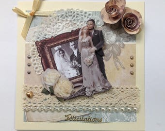 wedding congratulations card, hand made, 3D, Vintage, married couple, lace