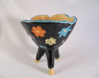 Handbuilt whimsical colorful daisy footed pottery bowl