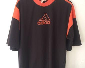 Vintage ADIDAS 90s Britpop Orange Football Shirt 3 Stripe German Soccer Top Strip Jersey S