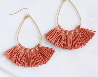Tassel Teardrop Earrings, Fringe Earrings, Rust Fiber