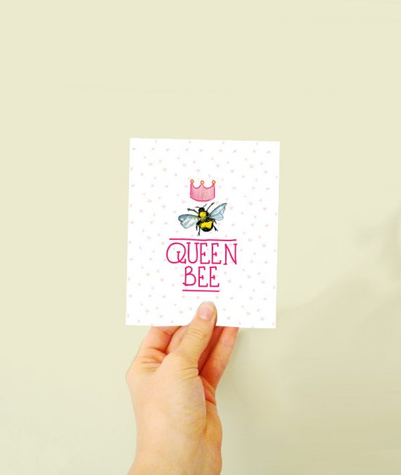 Queen Bee - Plantable seed card - made with wildflowers - card for brides - Mother's day - mums and bestfriends
