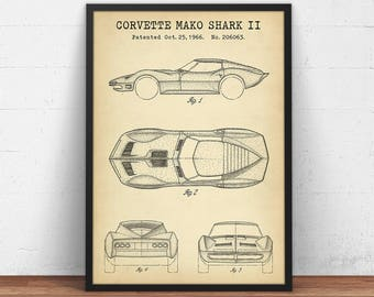 Corvette blueprint | Etsy