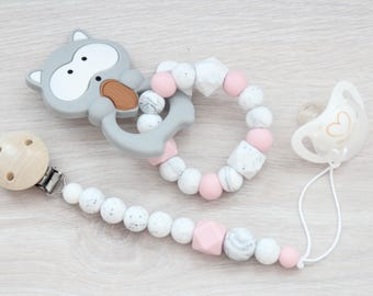 Girl teething toy with pacifier clip / Gift set for baby girl